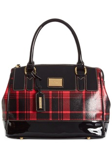 Tignanello Social Status Plaid Leather Satchel