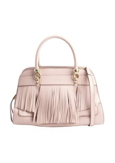 Tod's angel and pink leather fringed small handbag