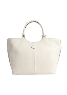Tod's antique white leather large top handle bag