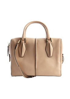 Tod's beige and camel leather top handle convertible tote
