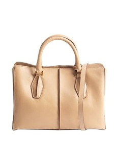 Tod's beige and ivory leather top handle convertible tote