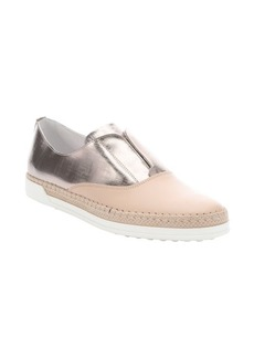 Tod's beige and metallic leather slip-on espadrille sneakers