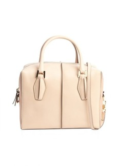 Tod's beige and powder colorblock leather convertible bag