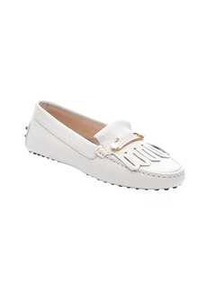 Tod's beige 'Heaven' fringe detail driving loafers