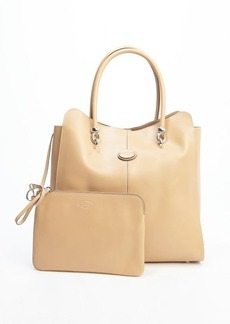 Tod's beige leather logo stamp top handle large tote