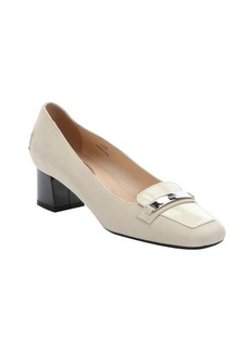 Tod's beige suede and patent leather loafer pumps