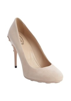 Tod's beige suede pebbled heel pumps