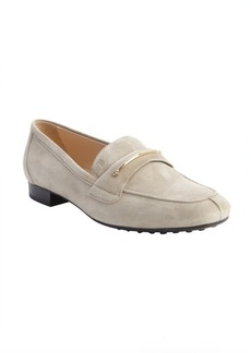 Tod's beige suede penny strap loafers