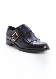 Tod's black and blue leather fringed loafters