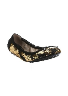 Tod's black and gold sequined ballerina flats