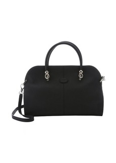 Tod's black and light grey leather convertible top handle bag