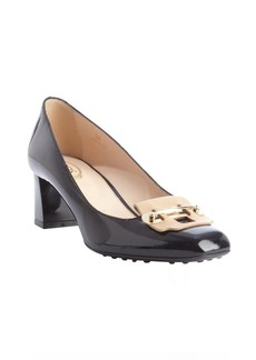 Tod's black and nude leather gold bar detail square toe pumps