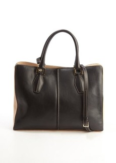 Tod's black and peach leather 'D-Cube Medium Shopping' bag
