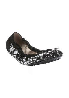 Tod's black and silver sequined ballerina flats