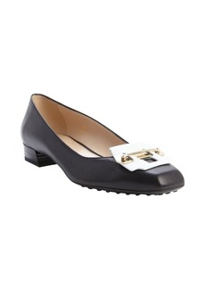 Tod's black and white leather metal strap detail block heel pumps