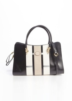 Tod's black and white leather 'Sellas' medium shopping bag