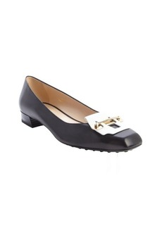 Tod's black and white suede metal strap detail block heel pumps
