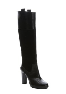 Tod's black leather and suede knee-high boots