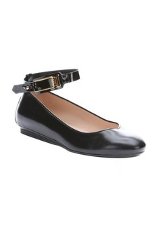 Tod's black leather 'Ballerina Gomma' ankle strap flats