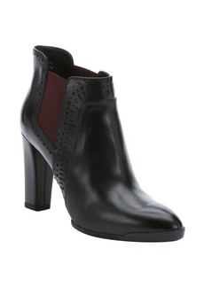 Tod's black leather brogue detail ankle boots
