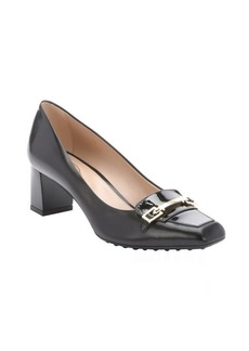 Tod's black leather buckle detail kitten heels