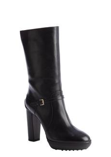 Tod's black leather buckle detail platform boot