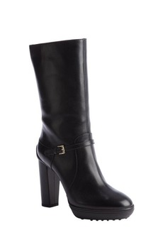 Tod's black leather buckle detail platform boot