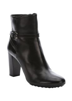 Tod's black leather buckle strap ankle booties