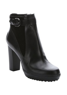 Tod's black leather buckled ankle booties