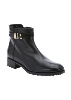 Tod's black leather buckled chelsea boots