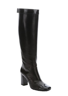 Tod's black leather cap toe knee-high boots