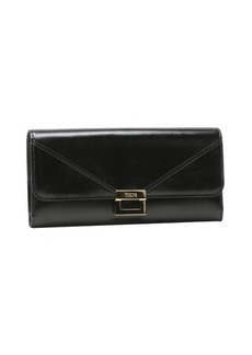 Tod's black leather clasp detail continental wallet
