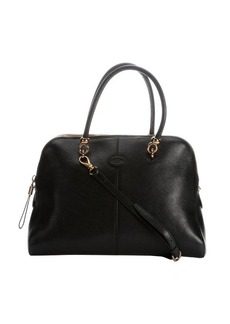 Tod's black leather convertible top handle bag