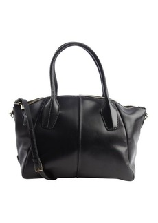 Tod's black leather convertible top handle satchel