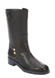 Tod's black leather detail back strap boots