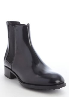 Tod's black leather elastic gusset detail ankle boots