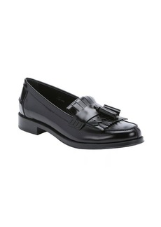 Tod's black leather fringe and tassel moc toe loafers