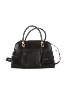 Tod's black leather fringe detail top handle bag
