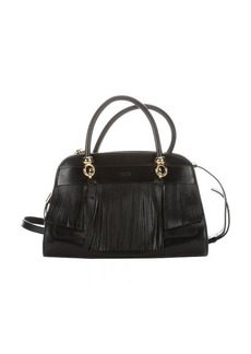 Tod's black leather fringe detail top handle bag