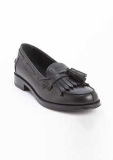 Tod's black leather fringe tassel slip-on loafers