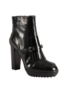 Tod's black leather fringed buckle strap platform ankle boots