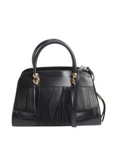 Tod's black leather fringed small handbag