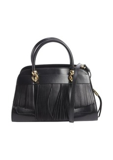 Tod's black leather fringed small handbag