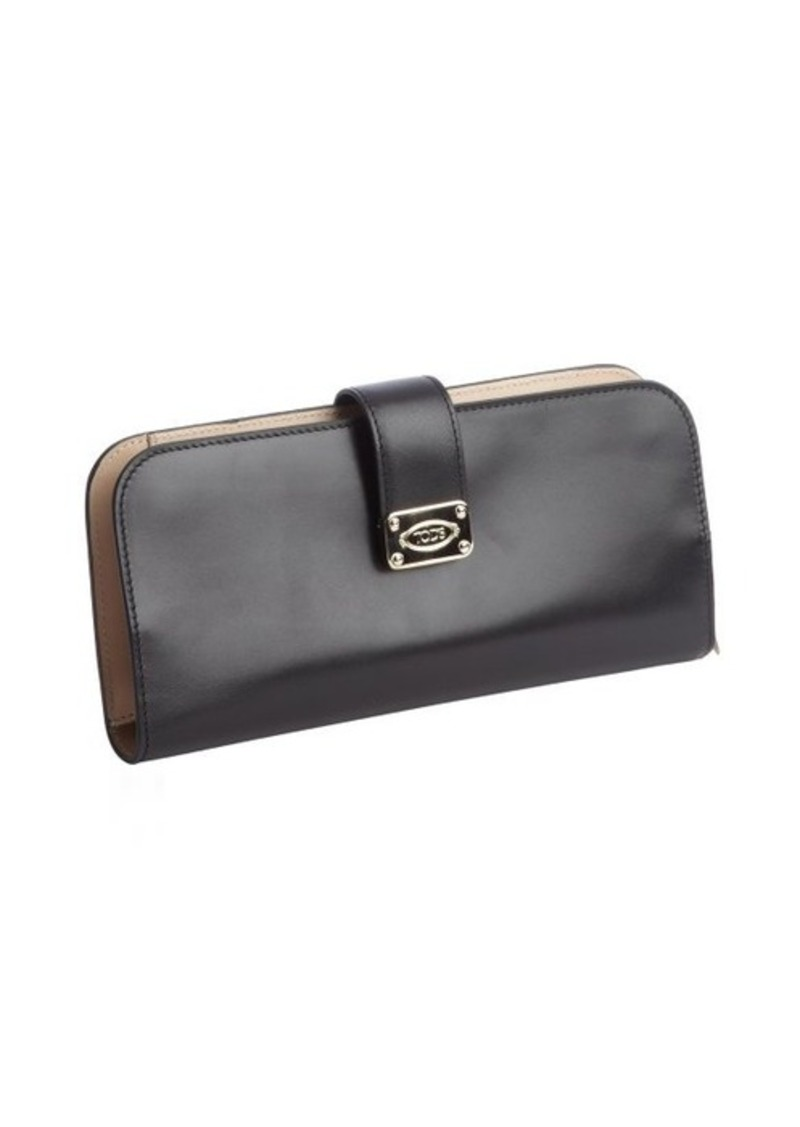 Tod's black leather front snap button closure wallet