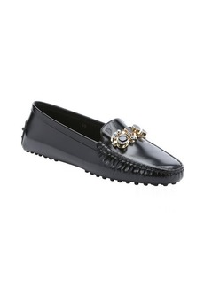 Tod's black leather geometrically embellished driving loafers