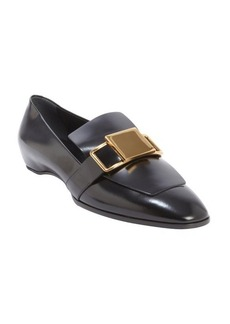 Tod's black leather goldtone buckle loafers