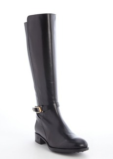 Tod's black leather goldtone bucklestrap side zip boots