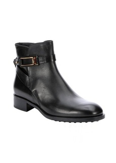 Tod's black leather heel ankle boots