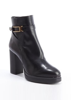 Tod's black leather heeled platform ankle boots