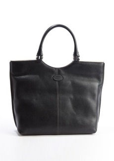Tod's black leather hinged top handle tote